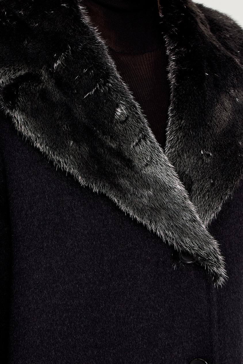 Prada Шерстяное пальто с меховы воротником prada черное пальто с меховой отделкой