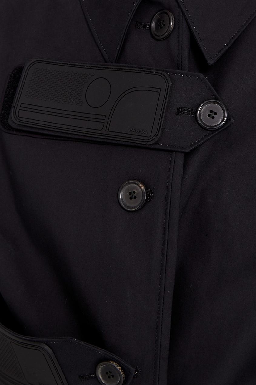 Prada Черное пальто из хлопка с перьями prada черное пальто с меховой отделкой
