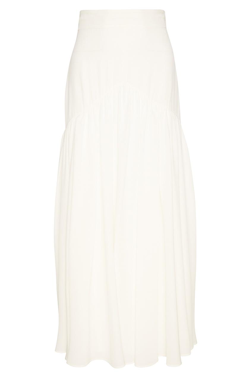 Белая шелковая юбка-макси