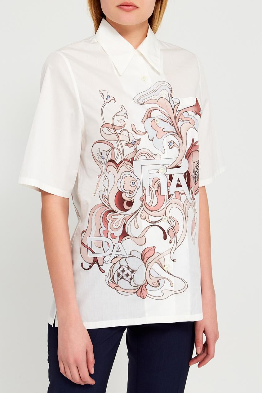 Prada Хлопковая рубашка с принтом