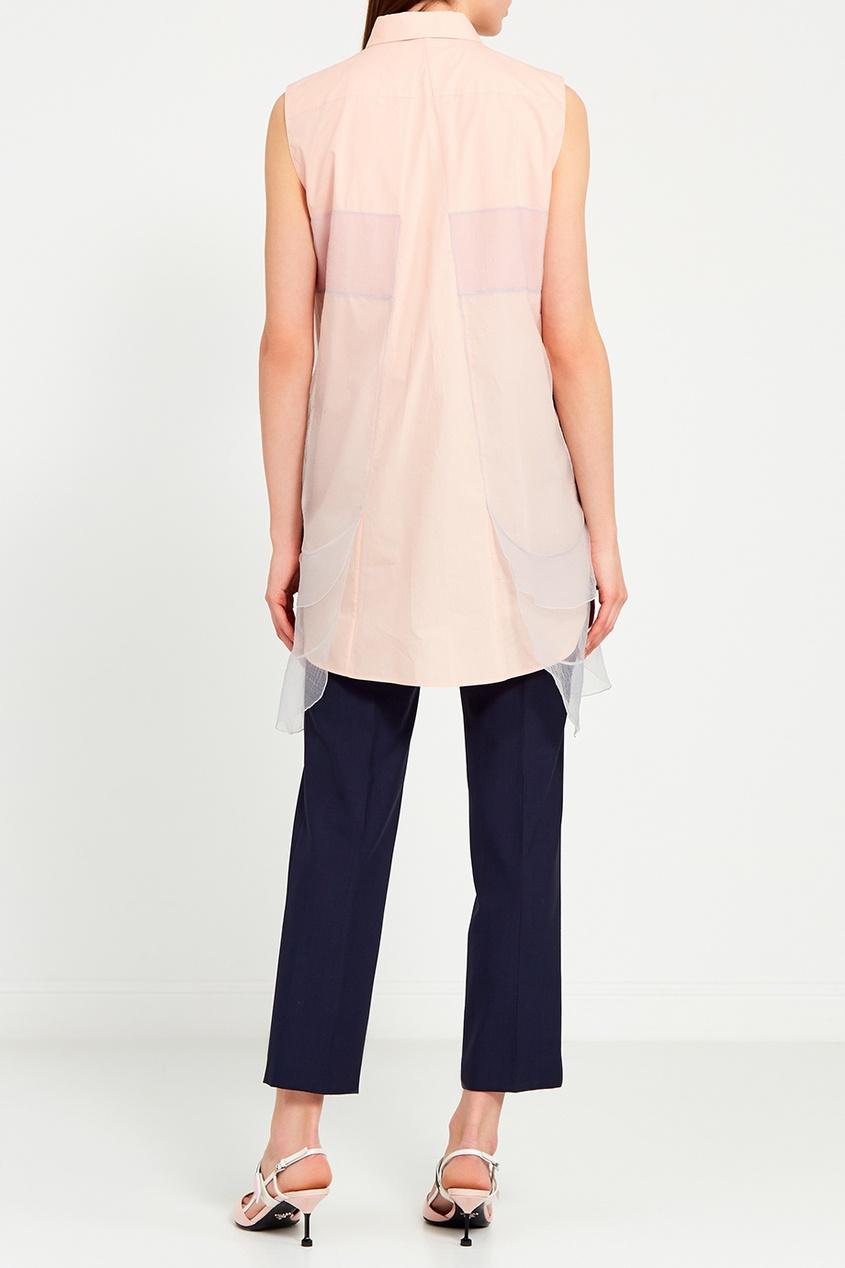 Prada Хлопковая блузка с органзой