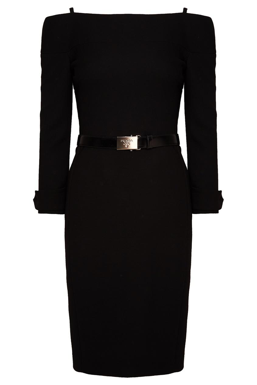 Prada Черное шерстяное платье платье черное с паетками 44