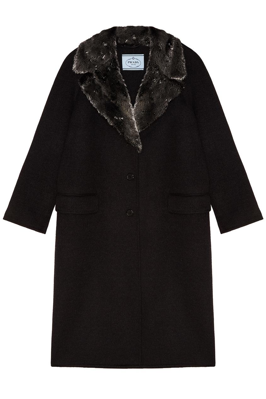 Prada Шерстяное пальто с меховы воротником