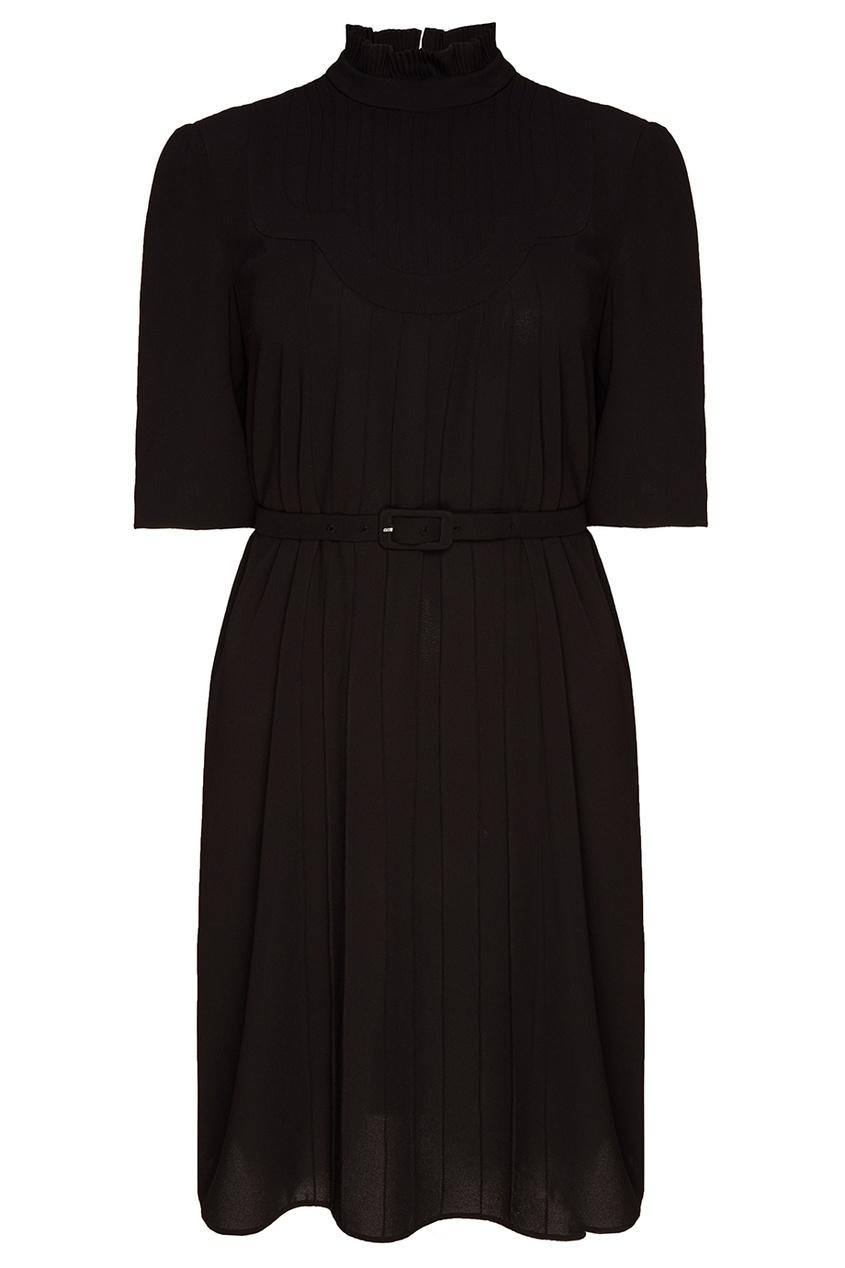 Prada Черное платье с рельефной отделкой prada шерстяное платье мини