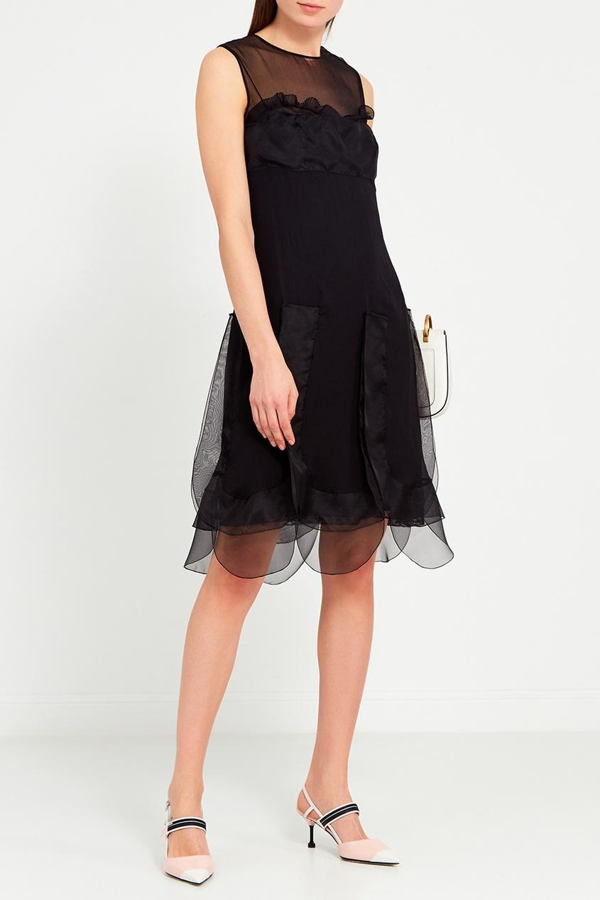 Prada Черное шелковое платье с воланами prada черное пальто с меховой отделкой
