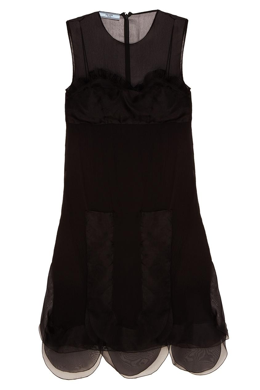 Prada Черное шелковое платье с воланами платье черное с паетками 44