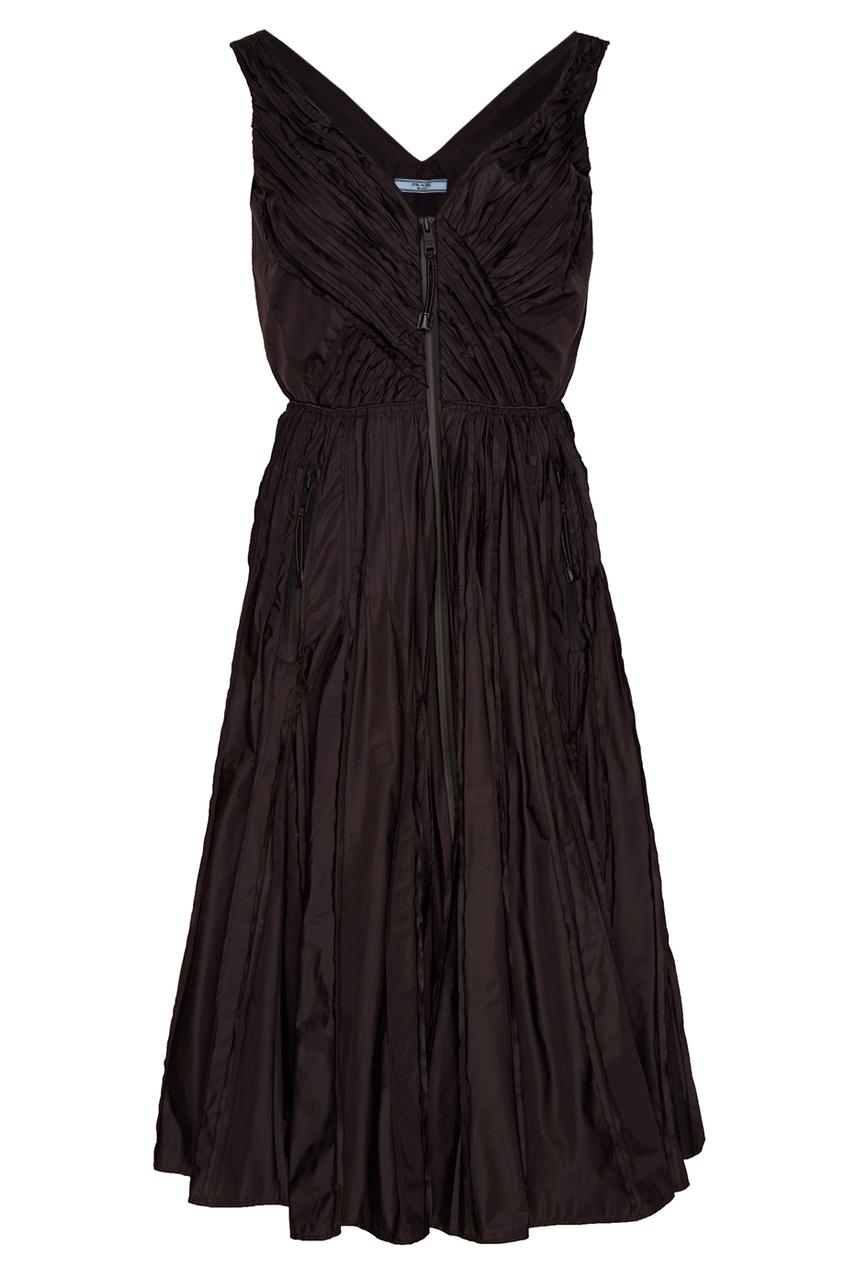 Prada Черное платье с плиссировкой платье черное с паетками 44