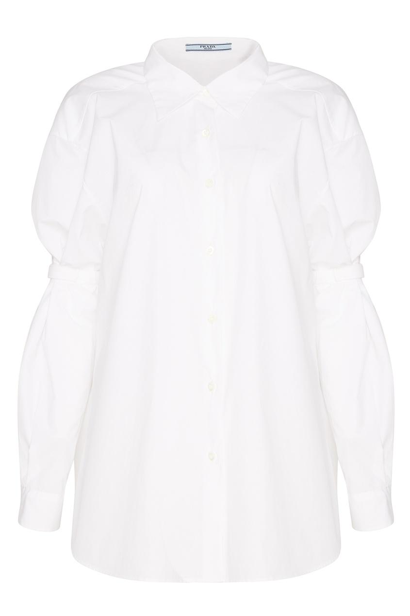 Prada Белая хлопковая рубашка осенние новый пиджак обрезанное корейской версии новый осенний износ тонкая белая рубашка леди рукава белая рубашка