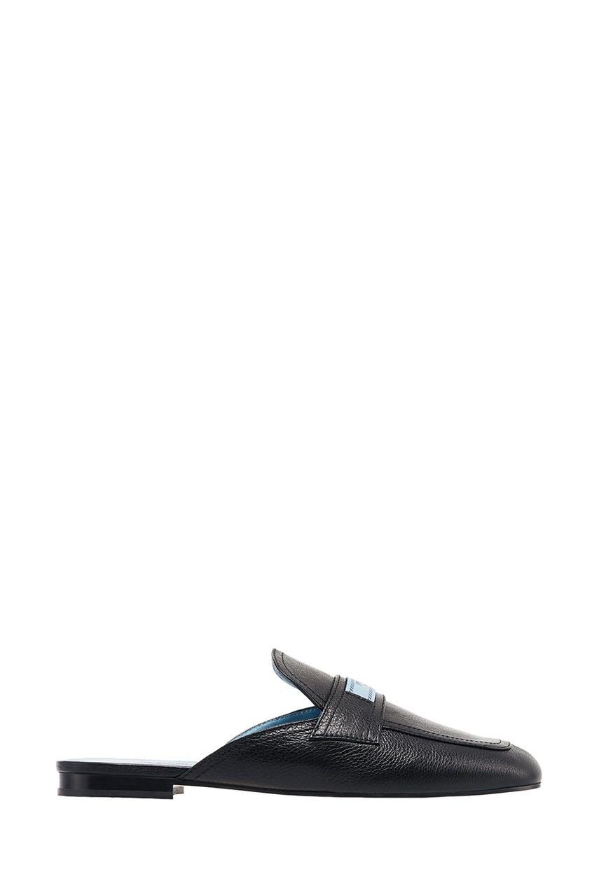 Prada Черные кожаные слиперы с логотипом слиперы beira rio слиперы