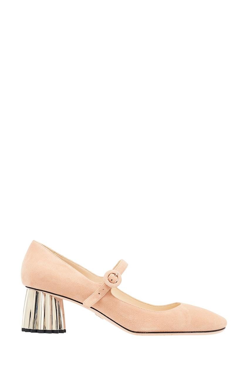 Бежевые замшевые туфли на фигурном каблуке