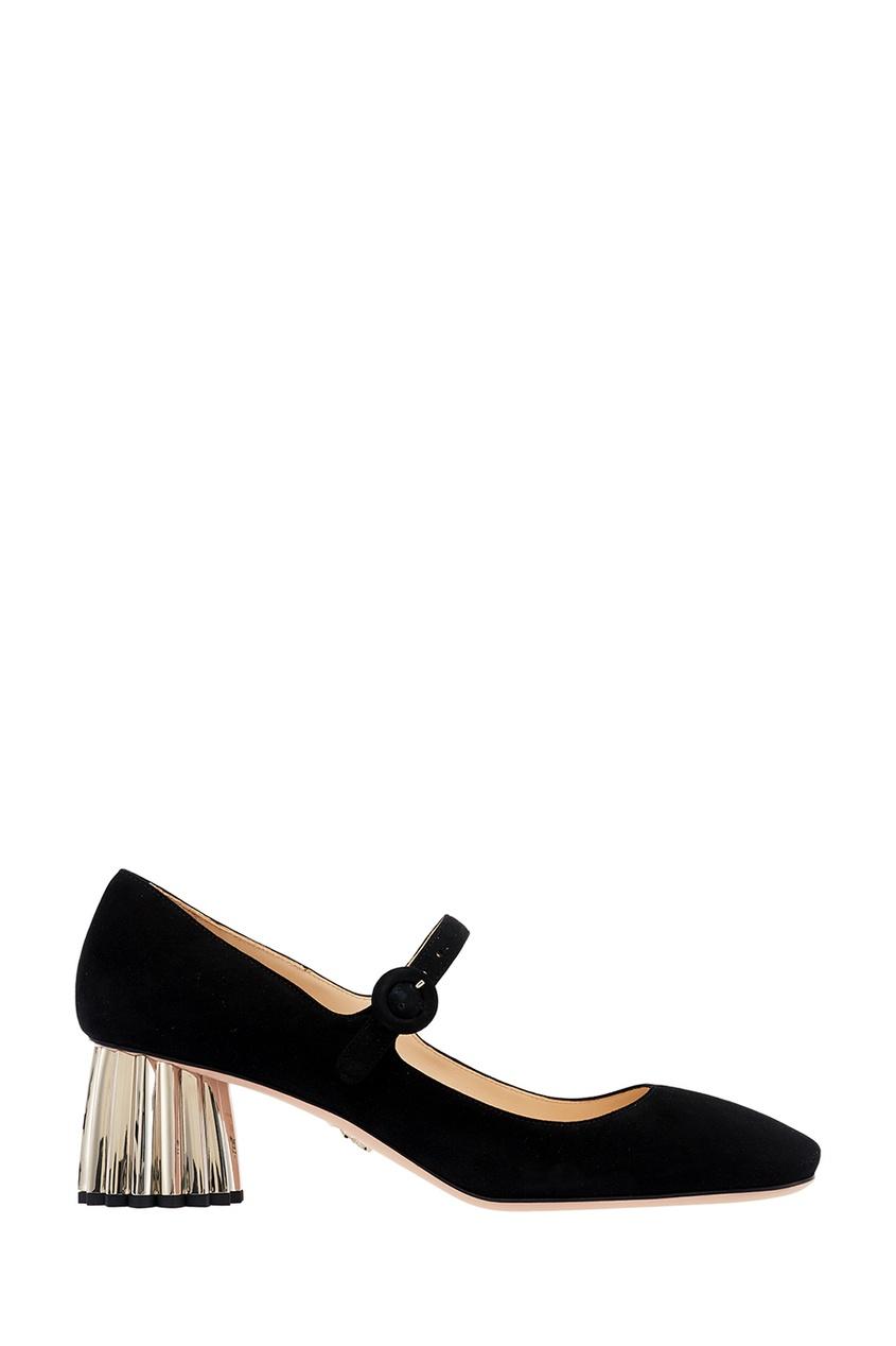 Черные замшевые туфли на фигурном каблуке