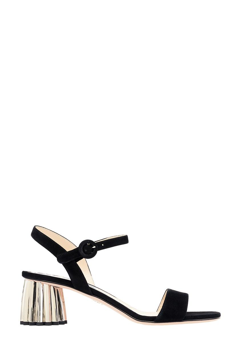 Черные замшевые босоножки на фигурном каблуке