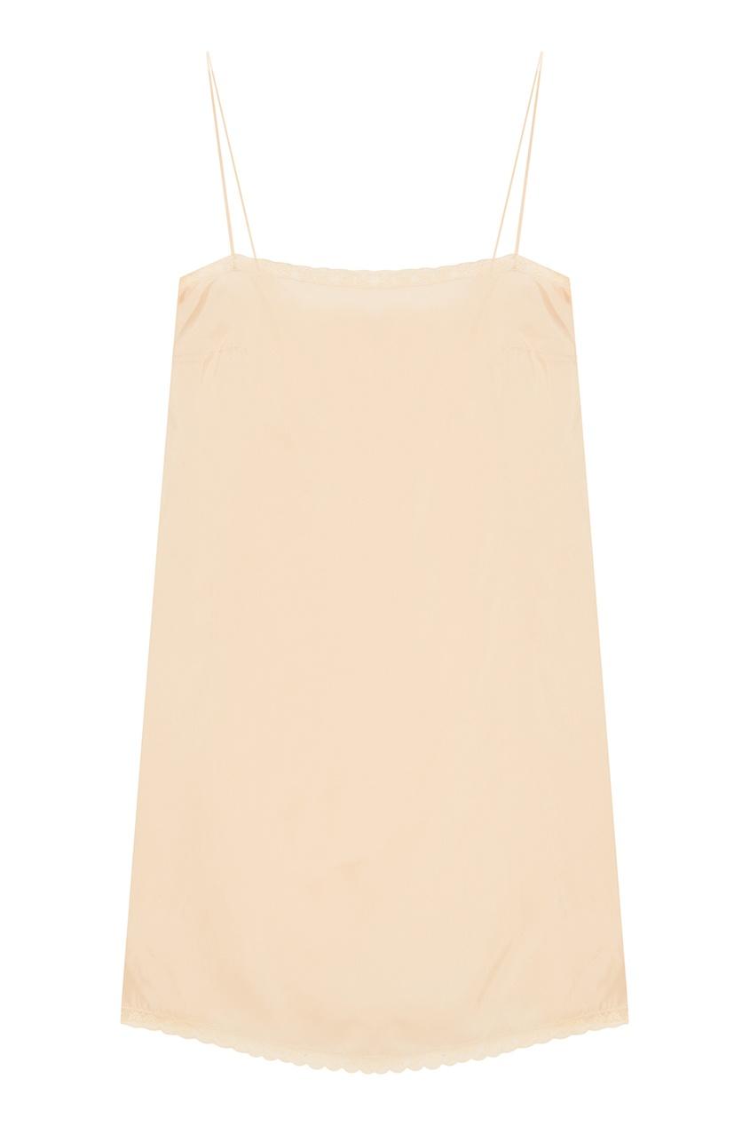 Шелковое платье-комбинация с кружевом