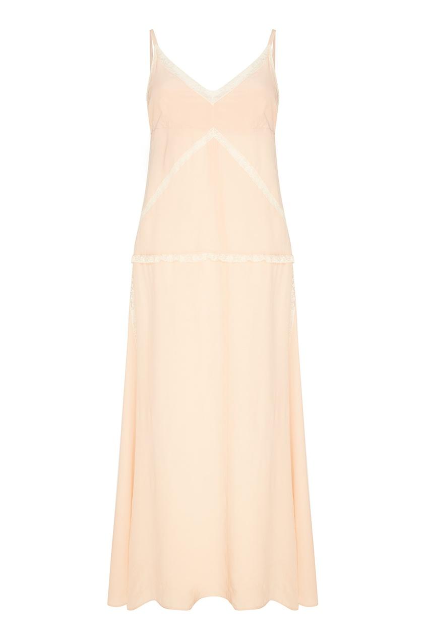 Бежевое платье из шелка с кружевом