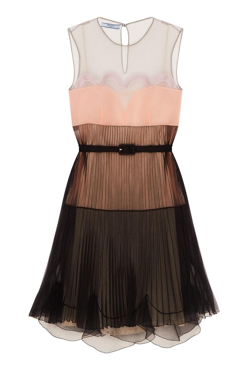 Prada Черное комбинированное платье с плиссировкой платье черное с паетками 44
