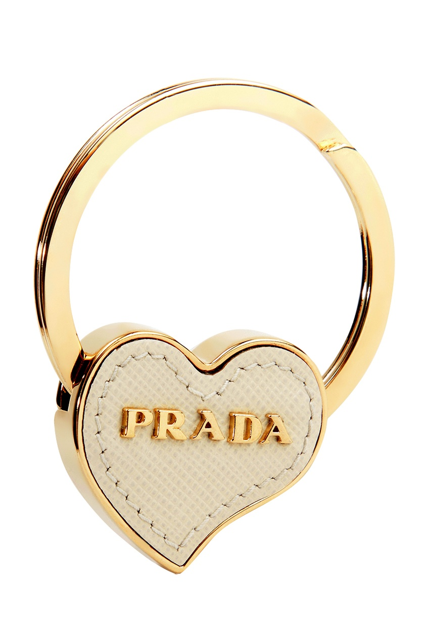 Prada Кольцо для ключей с белым сердцем кольца колечки кольцо анжелика авантюрин