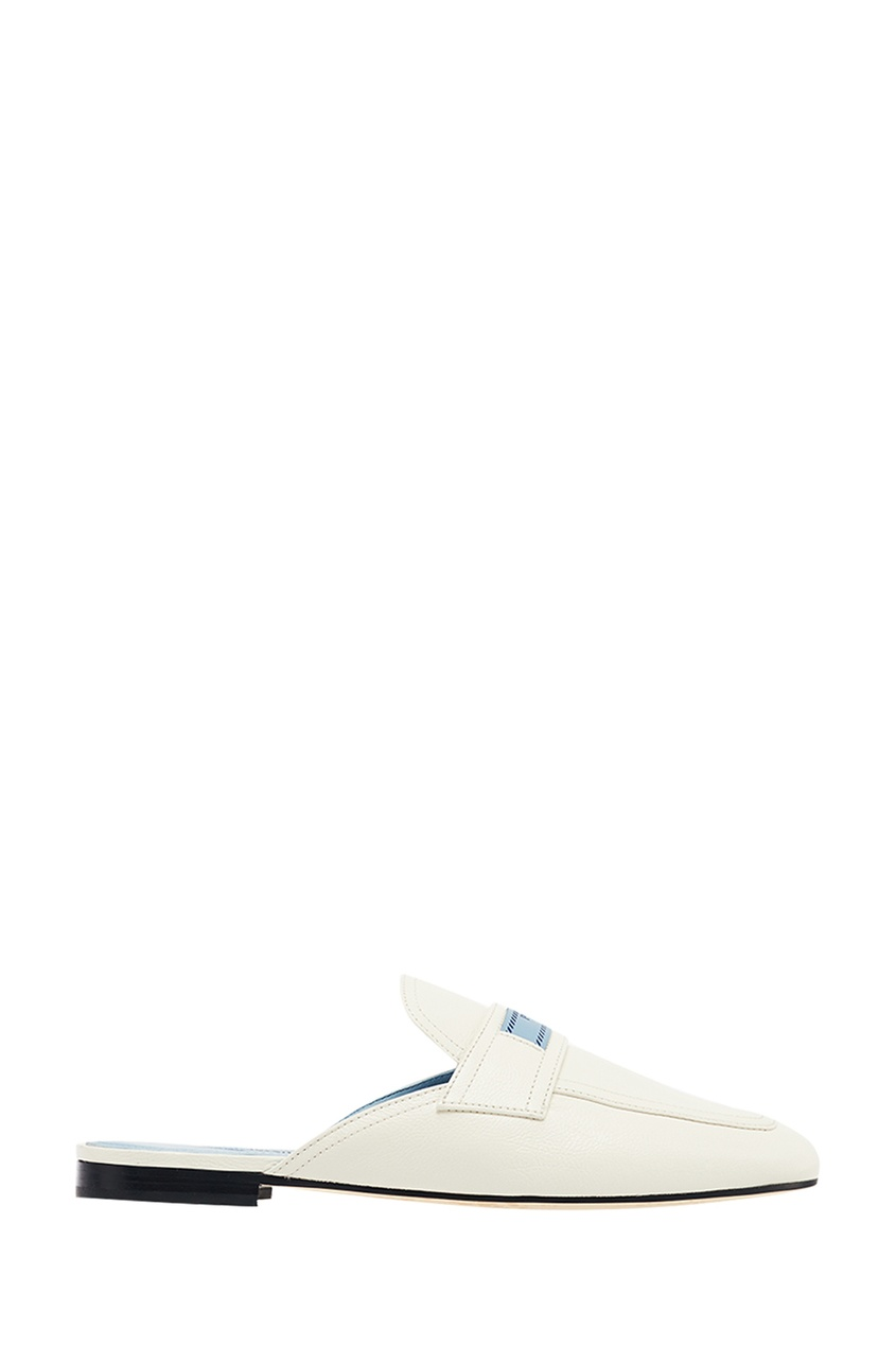 Prada Белые кожаные слиперы с логотипом