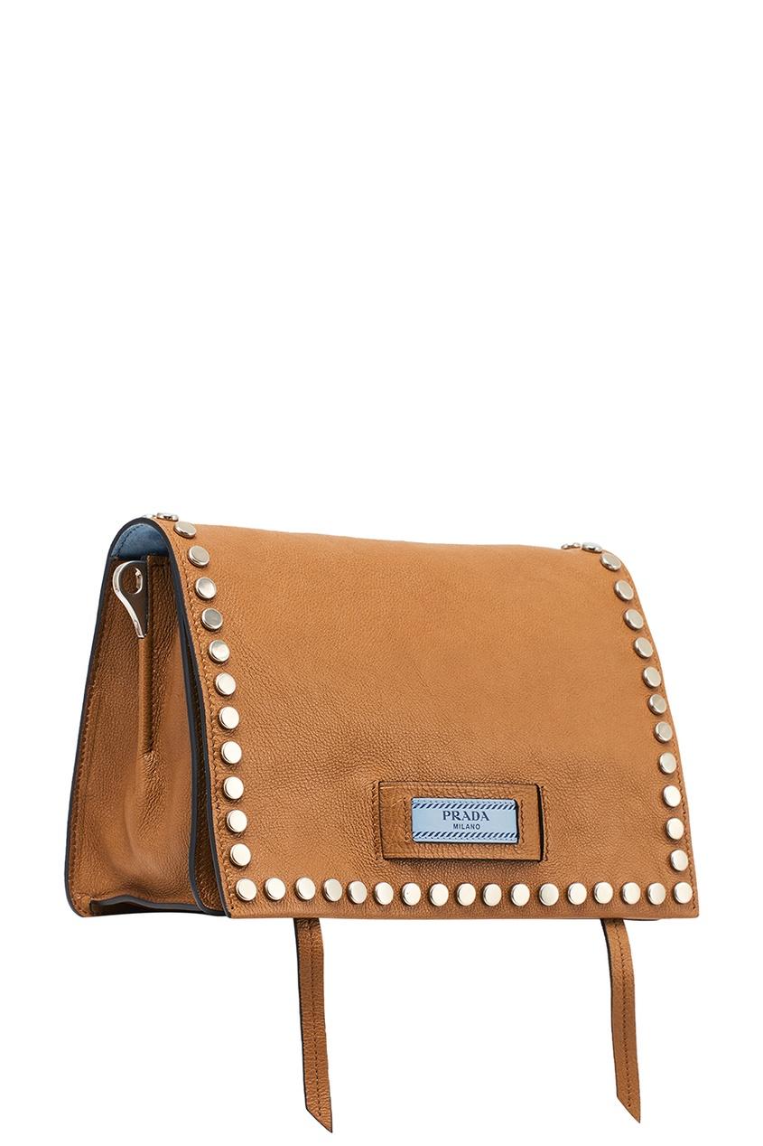 цена Prada Бежевая сумка из кожи Etiquette онлайн в 2017 году
