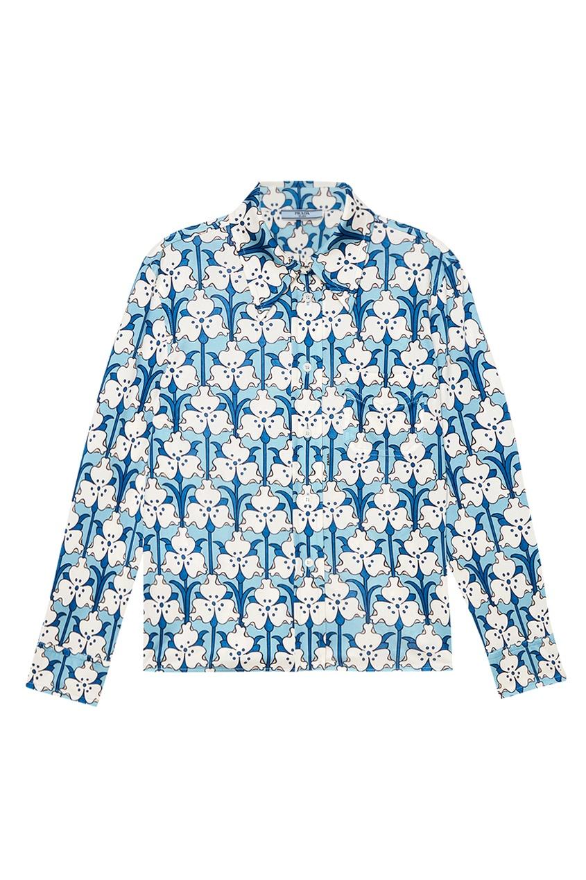 все цены на Prada Голубая рубашка с принтом