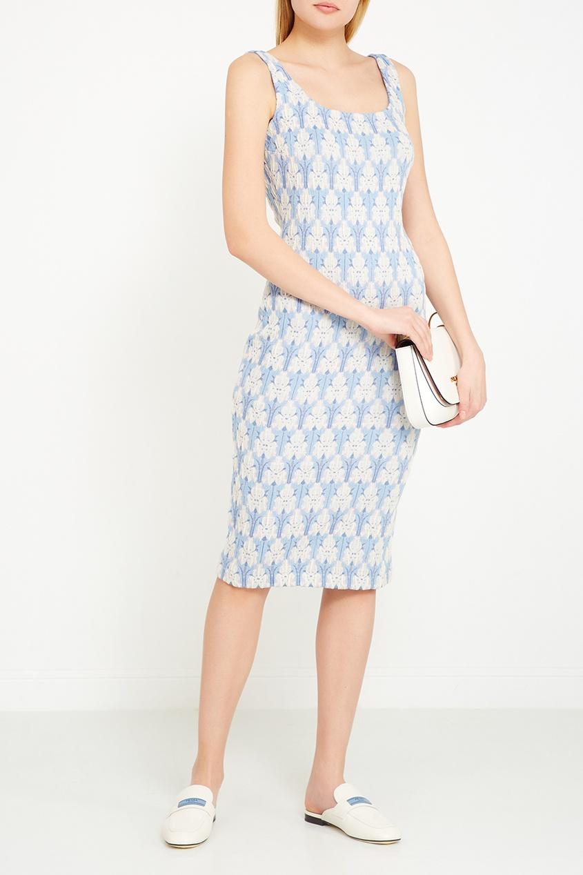 Prada Хлопковое платье-футляр с цветочным рисунком платье футляр с цветочным рисунком