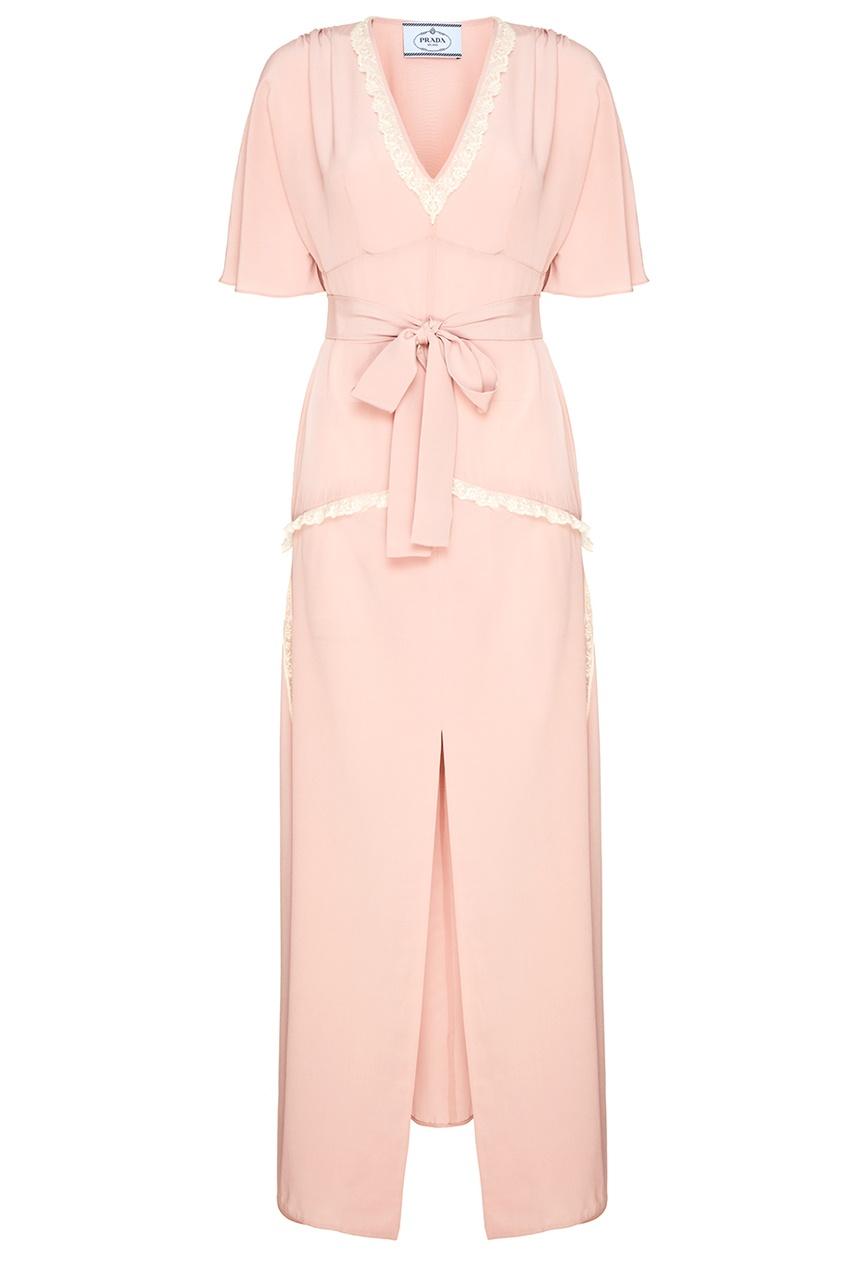 Розовое платье из шелка с кружевом