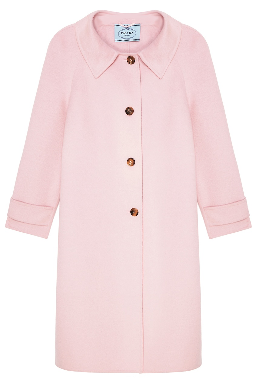 Prada Розовое пальто из шерсти пальто драповое 30% шерсти