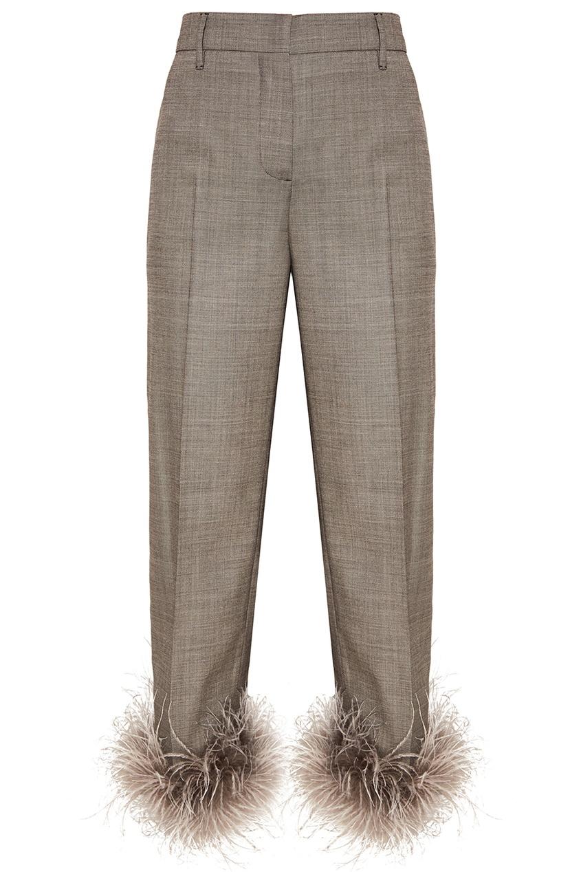 Prada Серые шерстяные брюки с перьями brioni шерстяные брюки серые