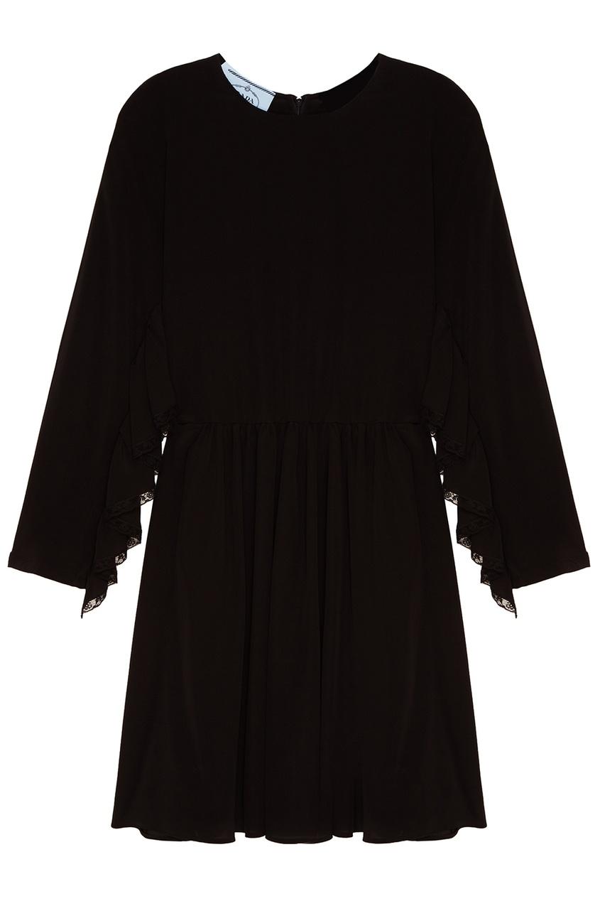 Черное шелковое платье с драпировками