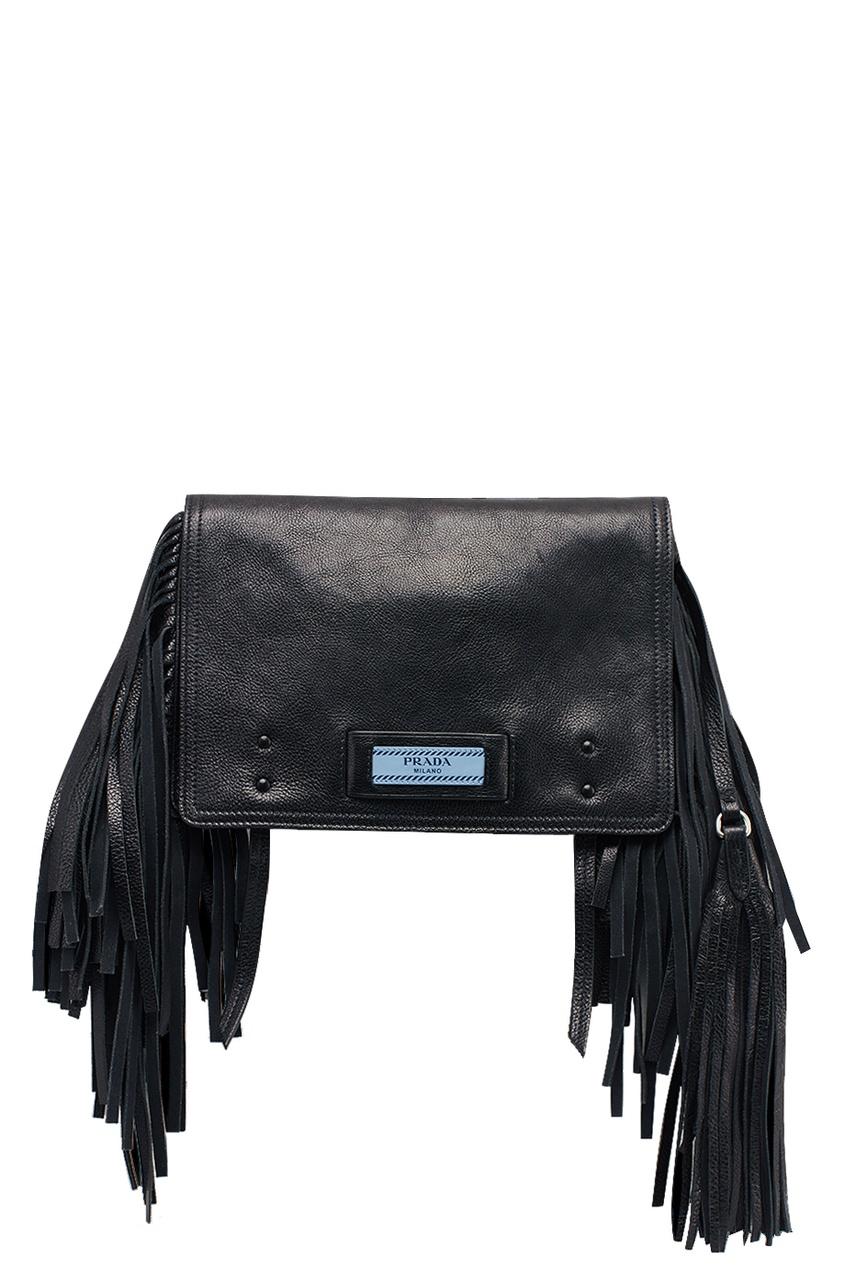 Prada Черная кожаная сумка Etiquette куртка голубого цвета brums ут 00008775