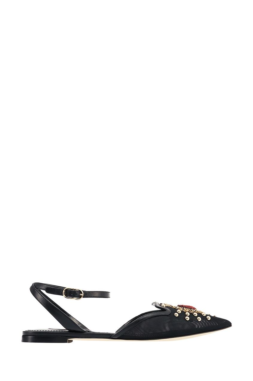 Туфли с вышивкой и аппликацией Dolce&Gabbana