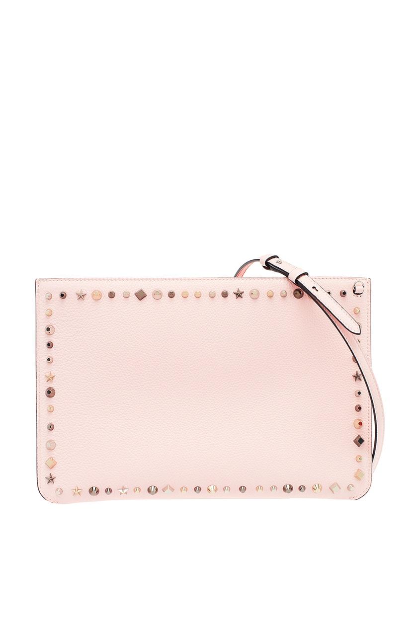 Розовый кожаный клатч Loubiclutch