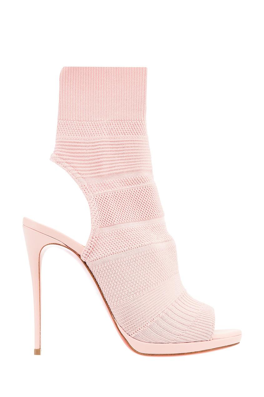 Розовые текстильные ботильоны Cheminene 120 Christian Louboutin