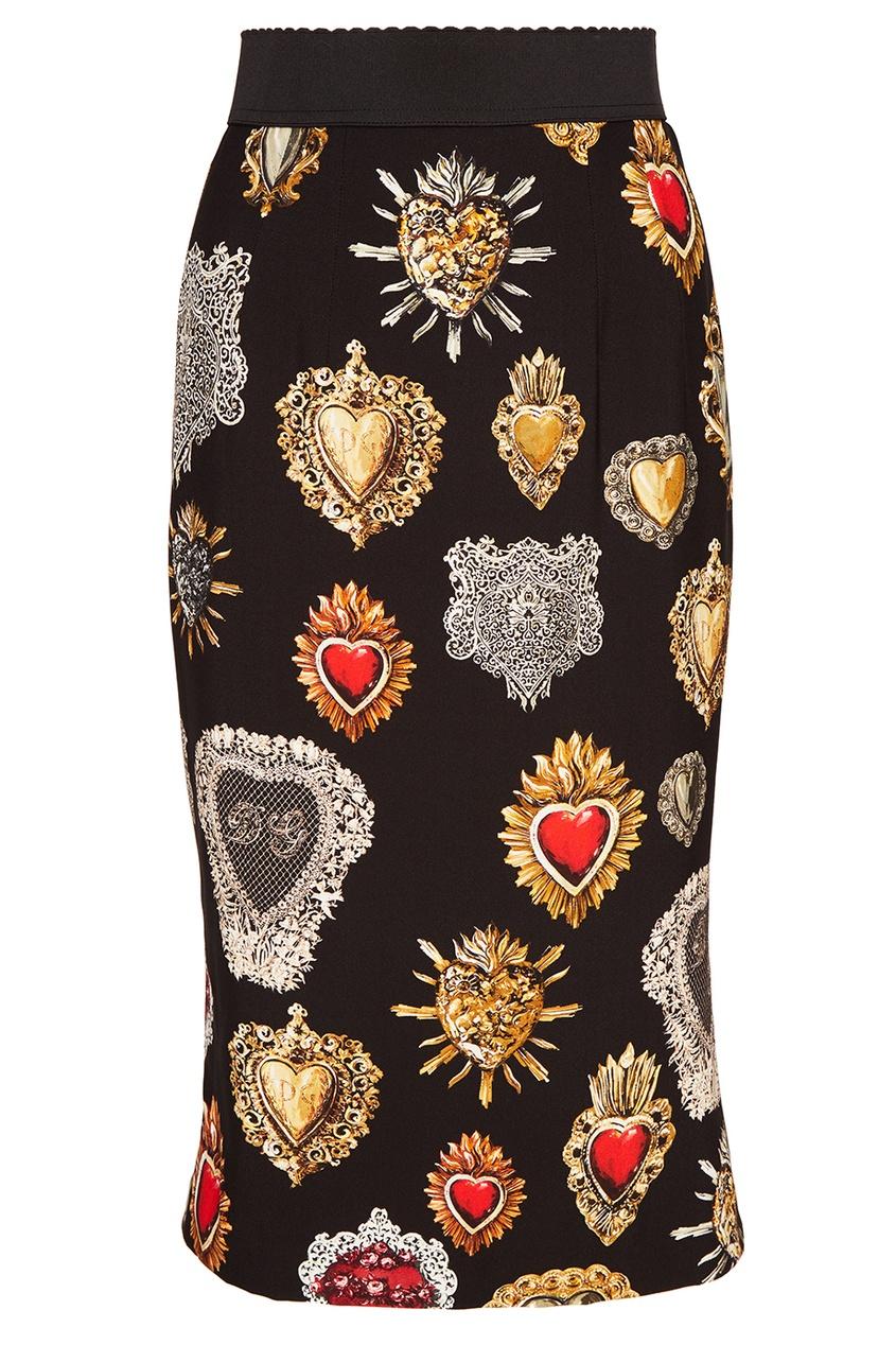 Юбка-миди с принтом Dolce&Gabbana