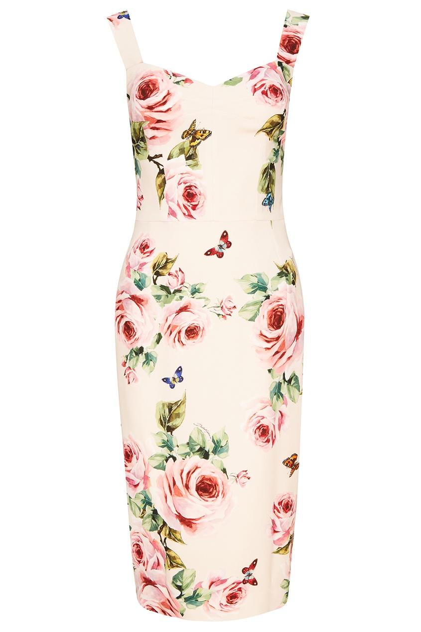 Dolce&Gabbana Платье-футляр с цветочным принтом платье с цветочным принтом