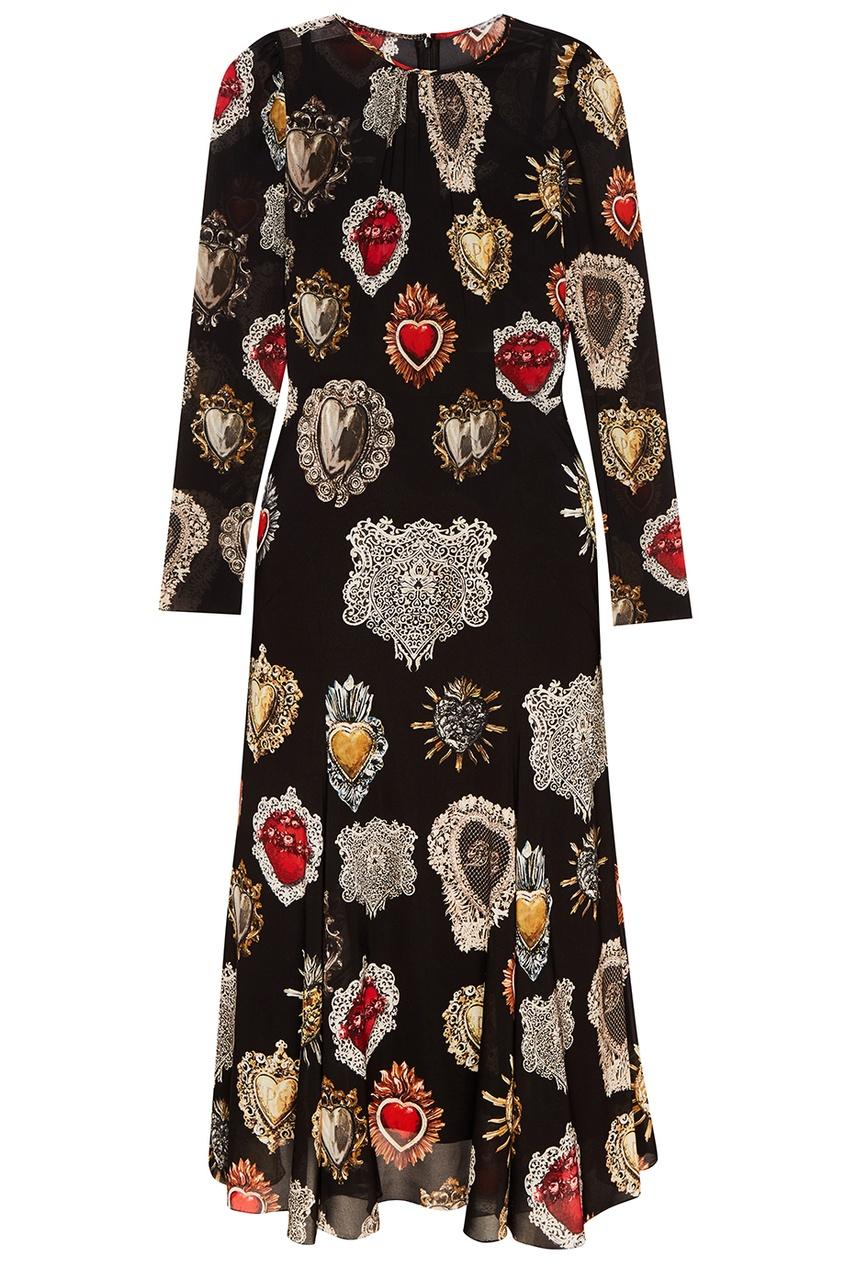 Dolce&Gabbana Черное платье с принтом Sacred Heart платье черное с паетками 44