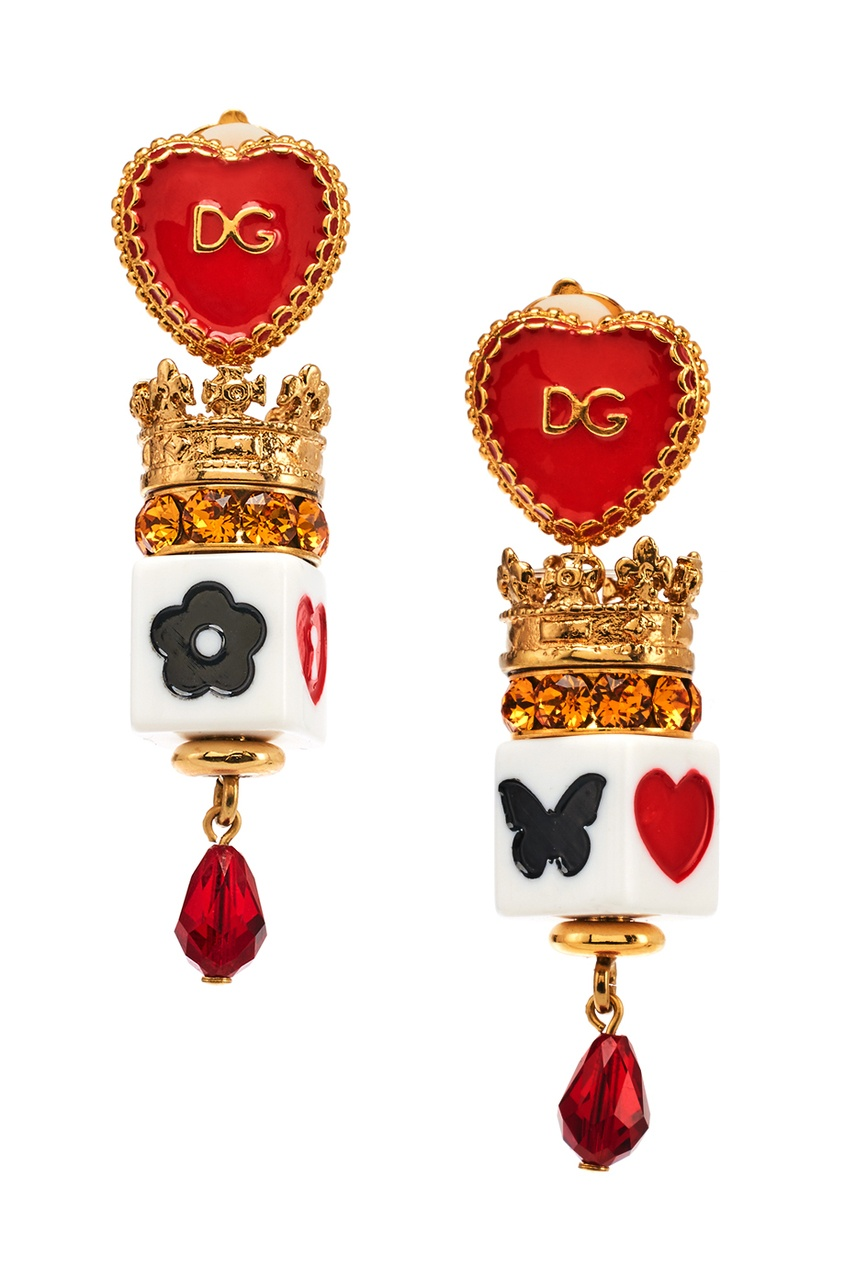 Dolce&Gabbana Серьги-клипсы с эмалью и кристаллами moon paris серьги с кристаллами и с гематитом с серебрением mok 1607 061