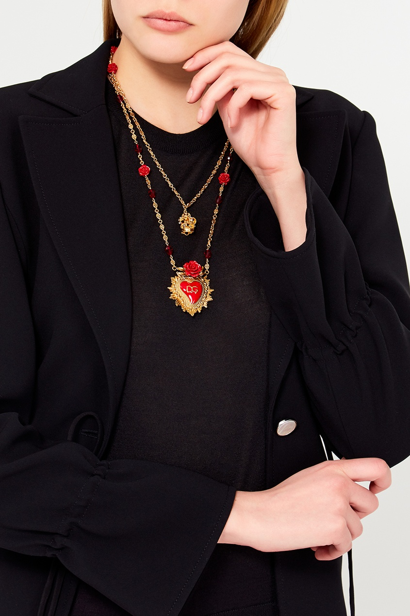Dolce&Gabbana Колье с розами и сердцем