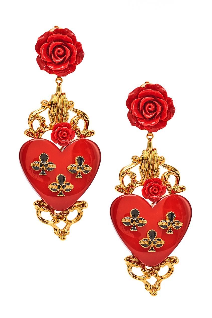Серьги-клипсы с розами и сердцами