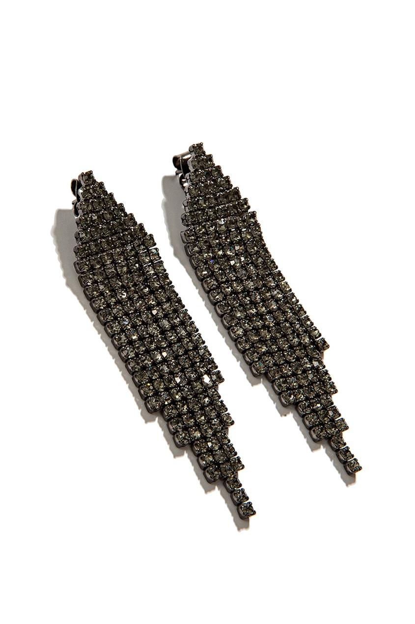 Exclaim Серьги с черными кристаллами moon paris серьги с кристаллами и с гематитом с серебрением mok 1607 061