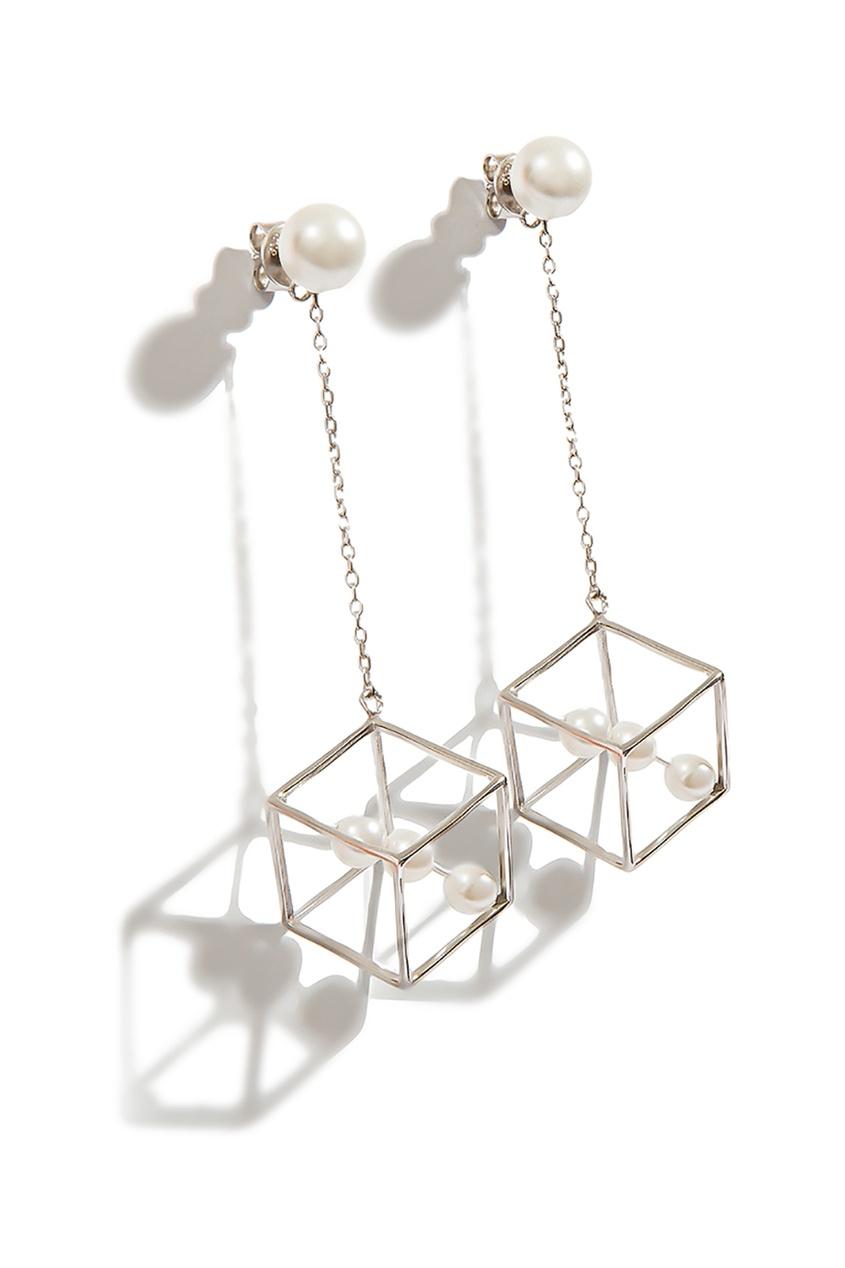Exclaim Гвоздики с геометрическими подвесками exclaim подвеска pearls посеребрение