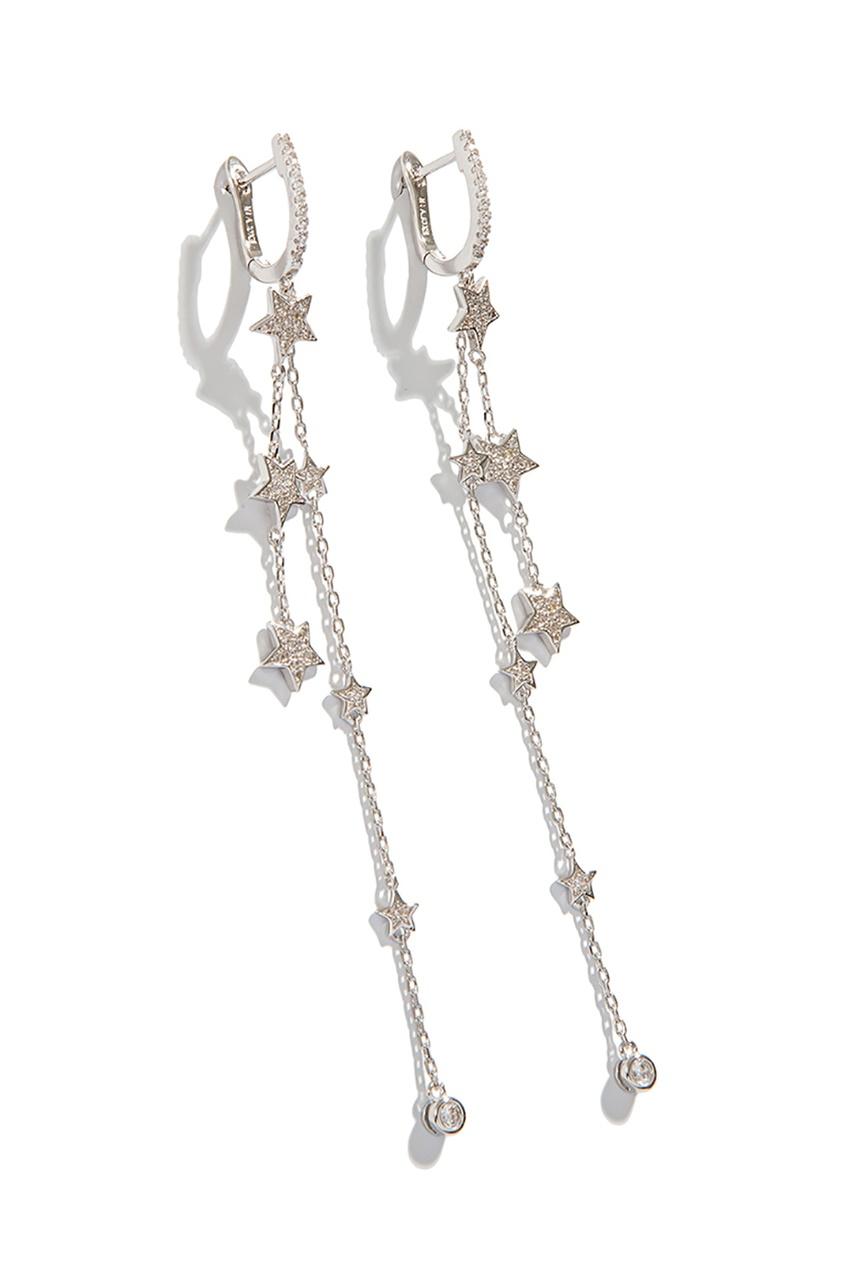 Exclaim Серьги с фигурными подвесками серьги с подвесками jv серебряные серьги с авантюринами куб циркониями и позолотой or 3664 aw 001 yg
