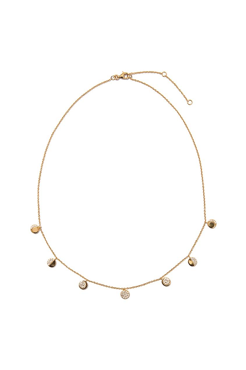 Exclaim Золотистое колье с круглыми подвесками exclaim золотистое серебряное колье чокер с камнями