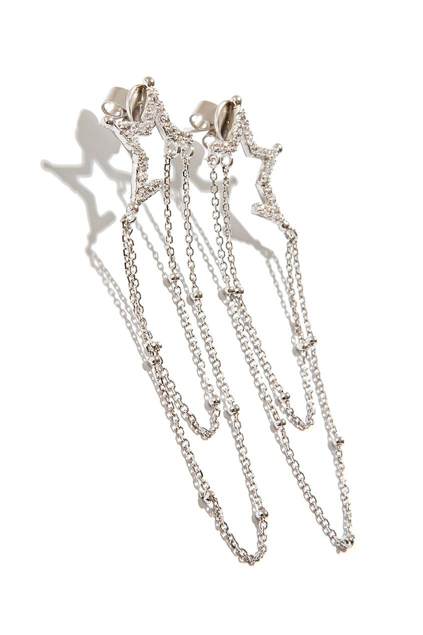 Exclaim Гвоздики с цепочкой и кристаллами exclaim подвеска pearls посеребрение