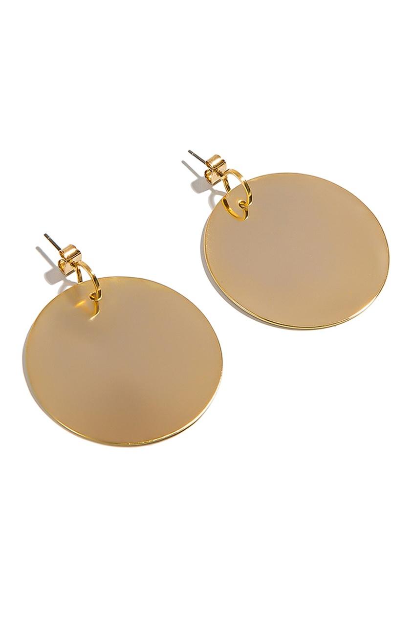 Exclaim Золотистые серьги с подвесками в виде дисков exclaim подвеска pearls посеребрение