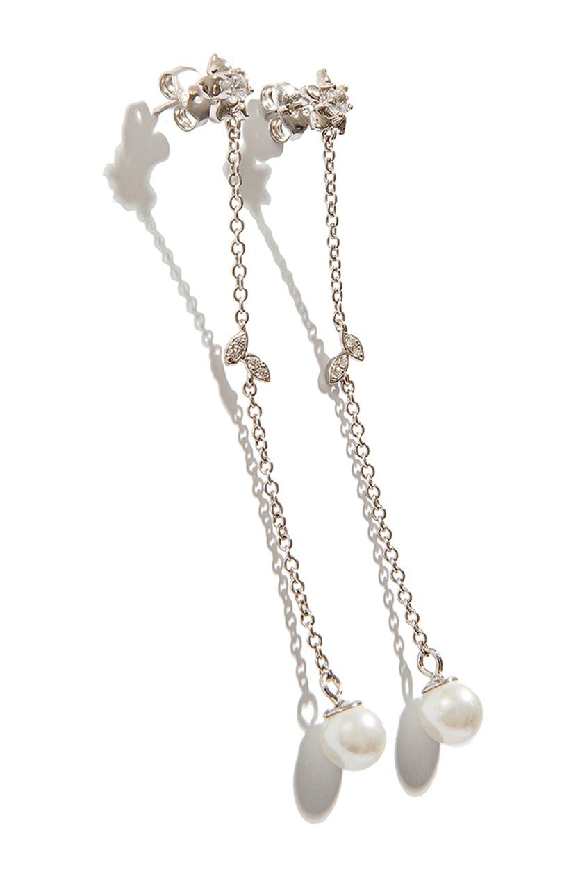 Exclaim Гвоздики с длинными подвесками серьги с подвесками эстет серебряные серьги с куб циркониями и пластиком est01с2510678 10z