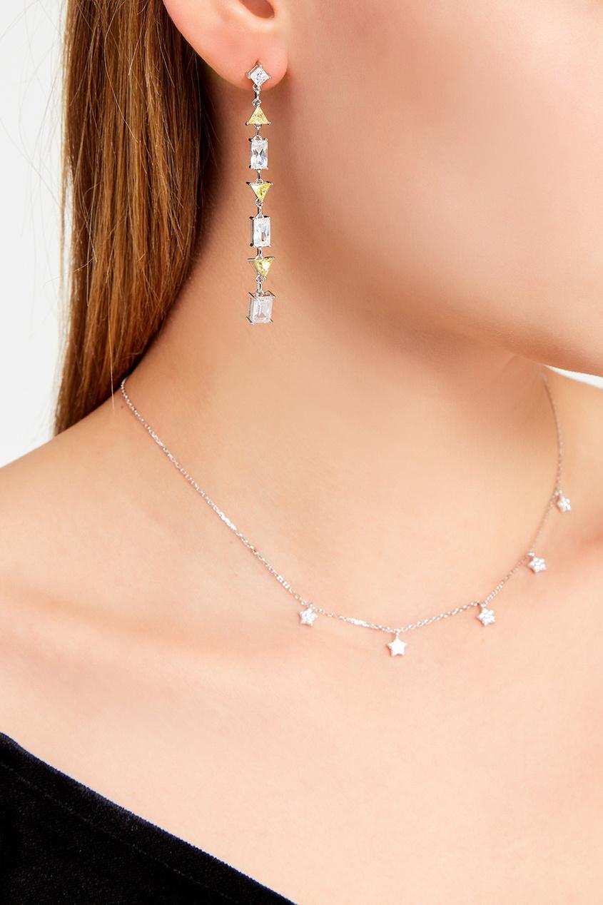 Exclaim Серьги с цветными кристаллами moon paris серьги с кристаллами и с гематитом с серебрением mok 1607 061