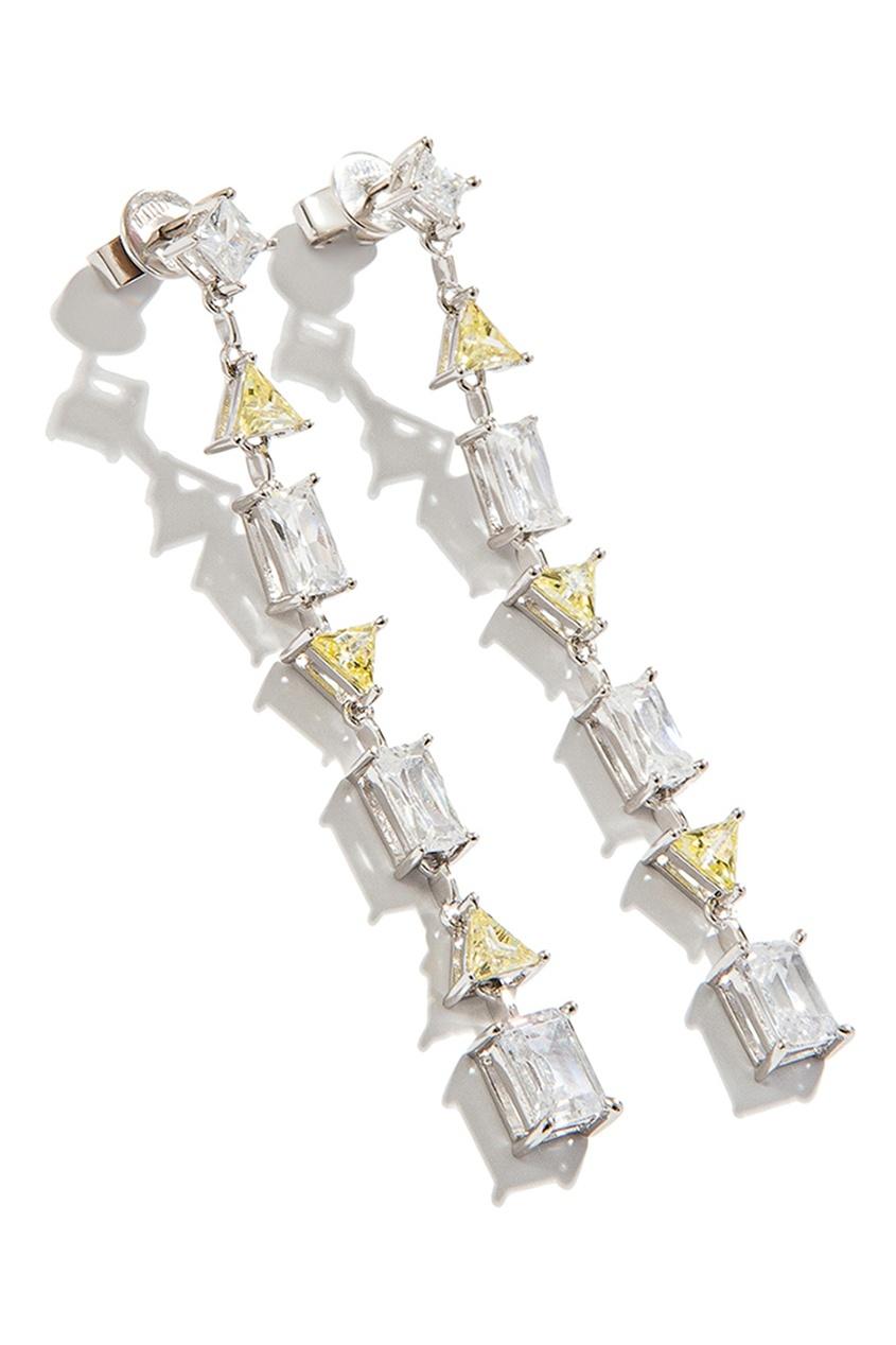 Exclaim Серьги с цветными кристаллами exclaim подвеска pearls посеребрение