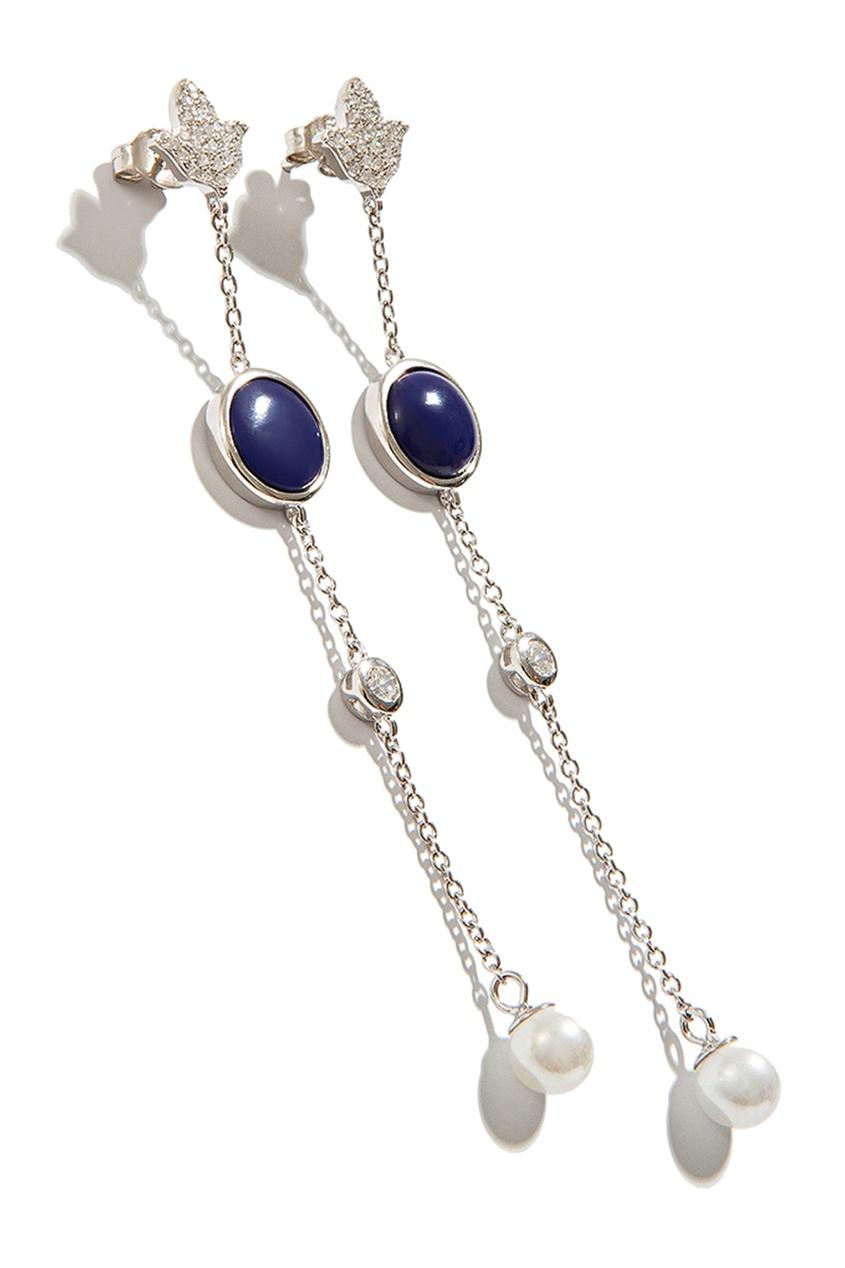 Exclaim Серьги с цветными вставками exclaim серьги гвоздики серебряные с камнями