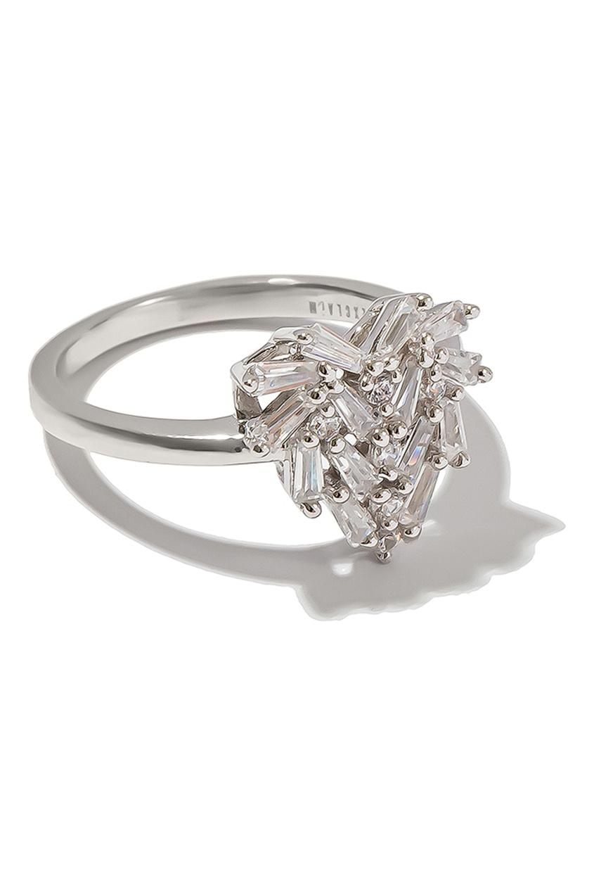 Exclaim Кольцо с блестящими кристаллами exclaim гвоздики с цепочкой и кристаллами