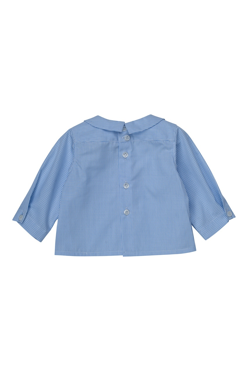Bonpoint Хлопковая синяя рубашка AQUARELLE